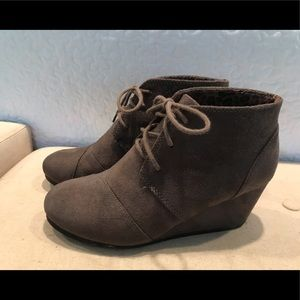 Gray Wedge Lace Up booties